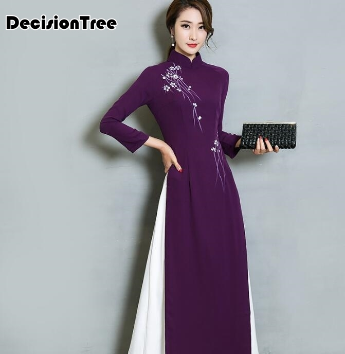 2019 Vietnam Aodai Chinese Traditional Dress Chinese Dress Qipao Long Chinese Cheongsam Dress Chinoise Modern Cheongsam