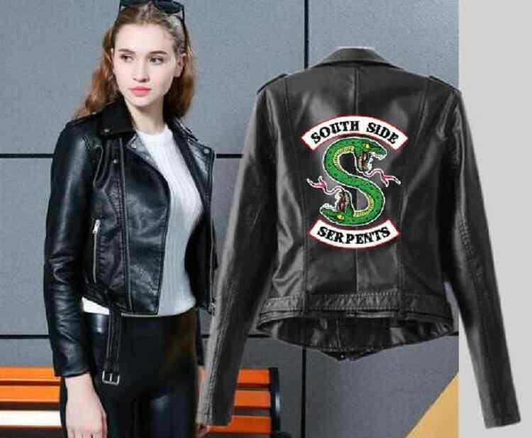 Riverdale Women PU Leather Jacket Fashion print Motorcycle Jacket Short Southside Serpents Artificial Leather Jacket Asian size