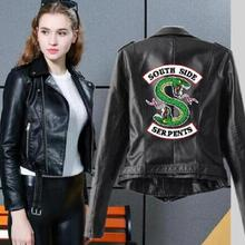 Riverdale Women PU Leather Jacket Fashion print Motorcycle Jacket