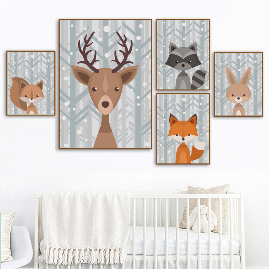Forest Deer Fox Bear Bunny Raccoon Wall Art Canvas Painting Nordic Posters And Prints Nursery Wall Pictures Baby Kids Room Decor