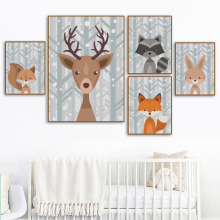 Forest Deer Fox Bear Bunny Raccoon Wall Art Canvas Painting Nordic Posters And Prints Nursery Pictures Baby Kids Room Decor