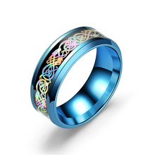 купить 4 Style Simple Stainless Steel Ring Vintage 7 Colorful Dazzle Light Dragon Design Ring for Women Men Jewelry Gifts Wholesale дешево