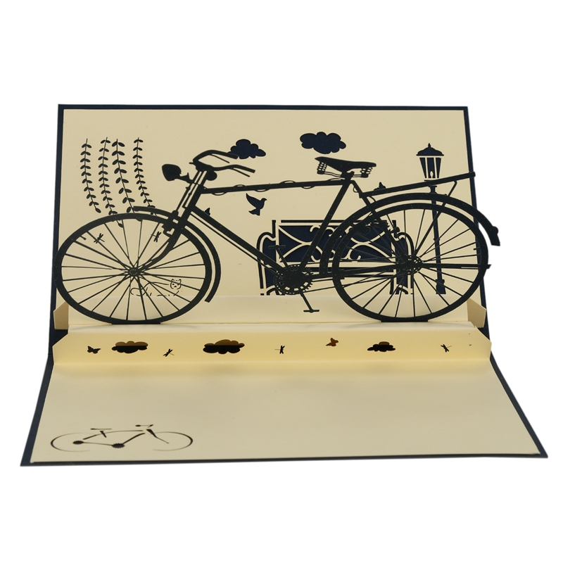 3D pop up handmade laser cut vintage cards Vintage bike creative gifts postcard birthday greeting cards for lovers