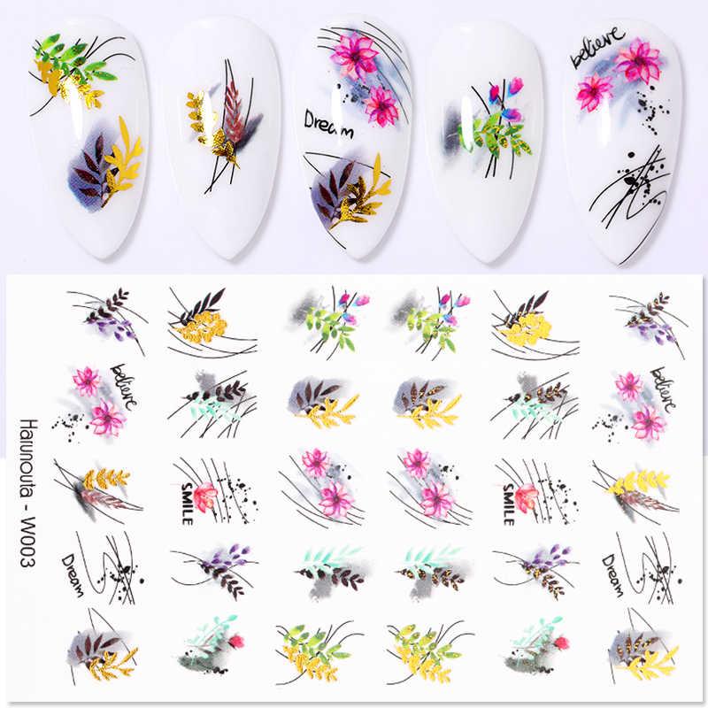 1 feuille Harunouta or eau ongles autocollants été fleur eau décalcomanies robe curseur ongles feuille enveloppes bricolage Nail Art décoration