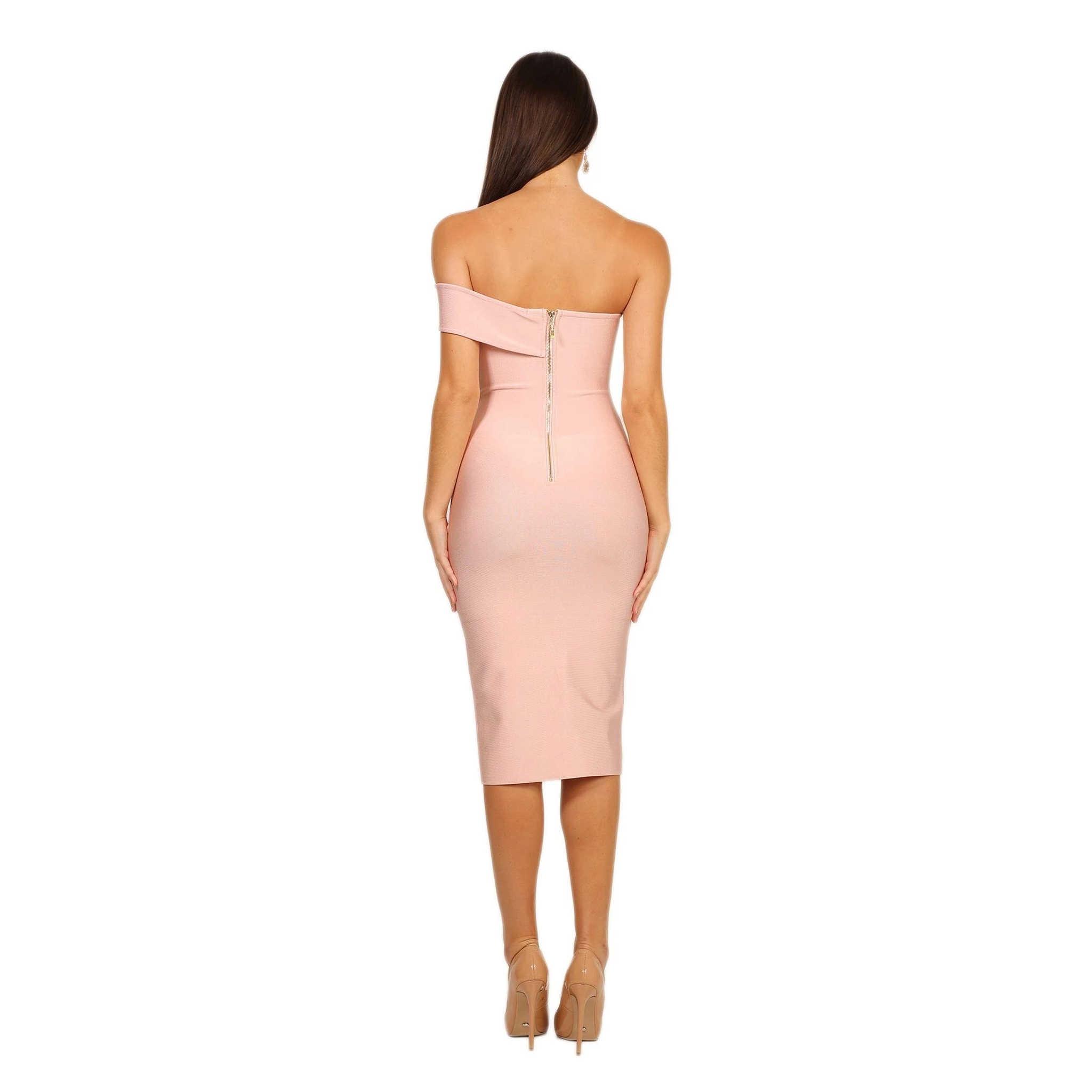 LEGER BABE/розовое Бандажное платье для женщин, обтягивающее летнее платье на одно плечо, вечернее платье с разрезом, бесплатная доставка