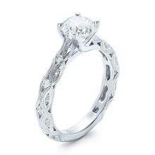 Huitan בניצוחו בזהירות קלאסי 4 טפרי זירקון נישואי חתונה טקס טבעת עם דפוס מעודן Drop חינם חם