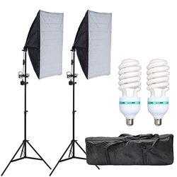 50x70CM Photography Softbox Lighting Kits Professional Continuous Light System Equipment E27 Socket 135W Bulb Light Tripod Stand