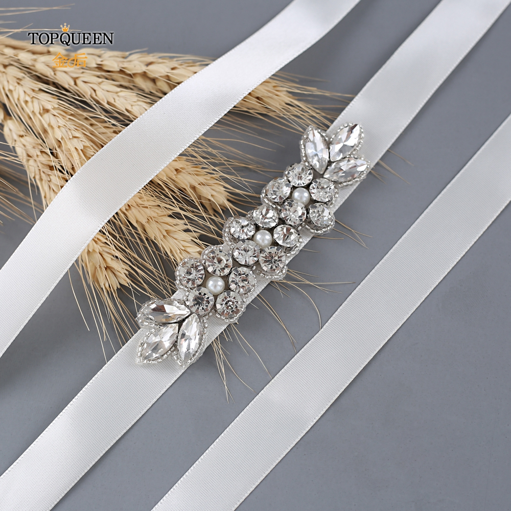 TOPQUEEN Accessoire Mariage Bridal Diamond Waist Belts For Wedding Dress Rhinestones Accented Bridal Sash For Evening Party S330