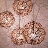 Postmodern Etch Art Pendant Lights Diamond Ball electroplated Stainless Steel Dining Room Bedroom Desktop Hanging Lamps Fixture