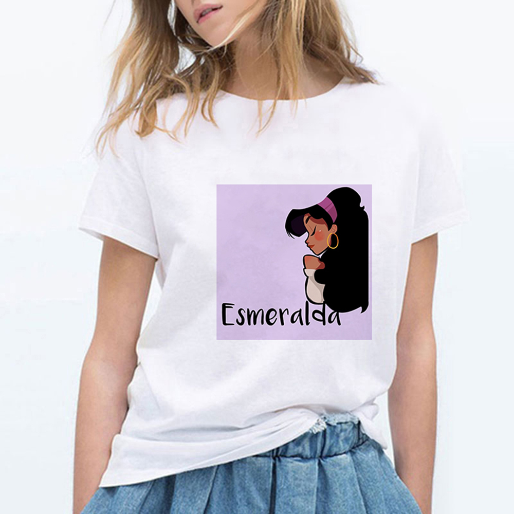 Esmeralda Streetwear Round Collar Cute Princess Tshirt Graphic Oversize Spring Summer Vogue Loose Trendy Plus Size T-shirt