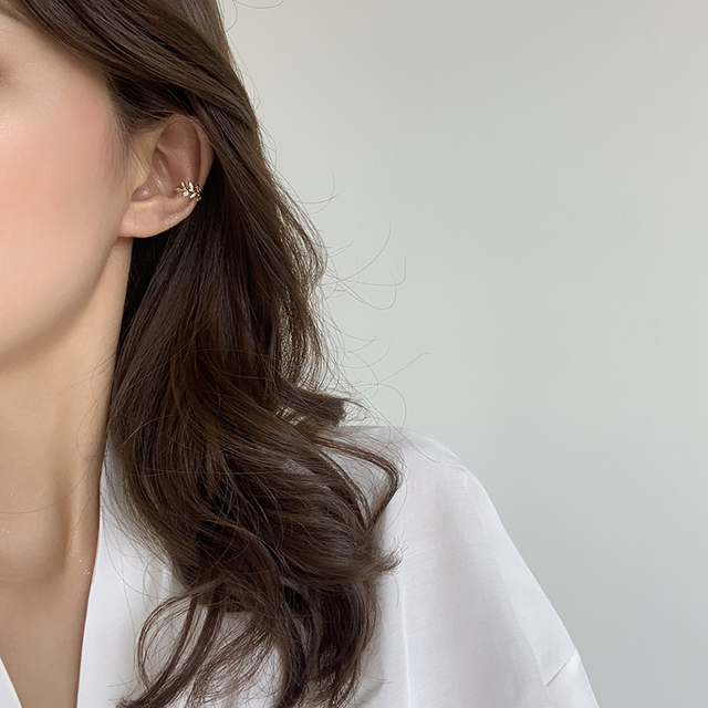 MENGJIQIAO 2020 New Delicate Zircon Cute Metal Leaf Ear Clips For Women Fashion No Piercing Fake Cartilage Ear Jewelry 3