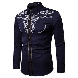 Image 3 - Mens Fashion Embroidered Shirt Western Cowboy Shirt Men Casual Slim Long Sleeve Gold Striped Shirt Chemise Camisa Masculina XXL