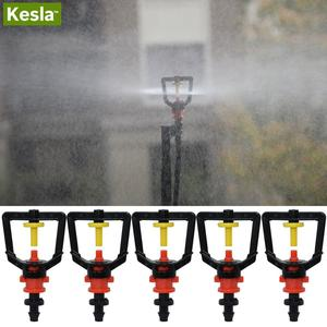 KESLA 5PCS Greenhouse 360 Refraction Micro Nozzle Garden Drip Irrigation Misting System Hanging Humidifier Sprayer w 4/7mm Barb
