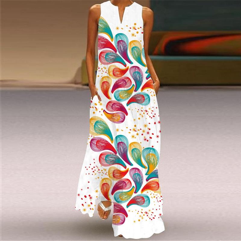 MOVOKAKA 2021 White Long Dress Women Mouth Print Vintage Sleeveless Elegant Dress Casual Plus Size Vestidos Girls Dresses Summer 34