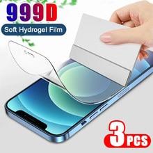 3 pçs filme de hidrogel protetor de tela para iphone 11 12 pro x xr xs max película protetora para iphone 7 8 plus 6s se 2020 não vidro