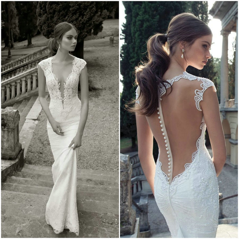 Fashion Sheath High Neck Events Floor Length Sexy Illusion Deep V-neck Low Back Beaded Lace Bridal Gown 2018 Bridesmaid Dresses