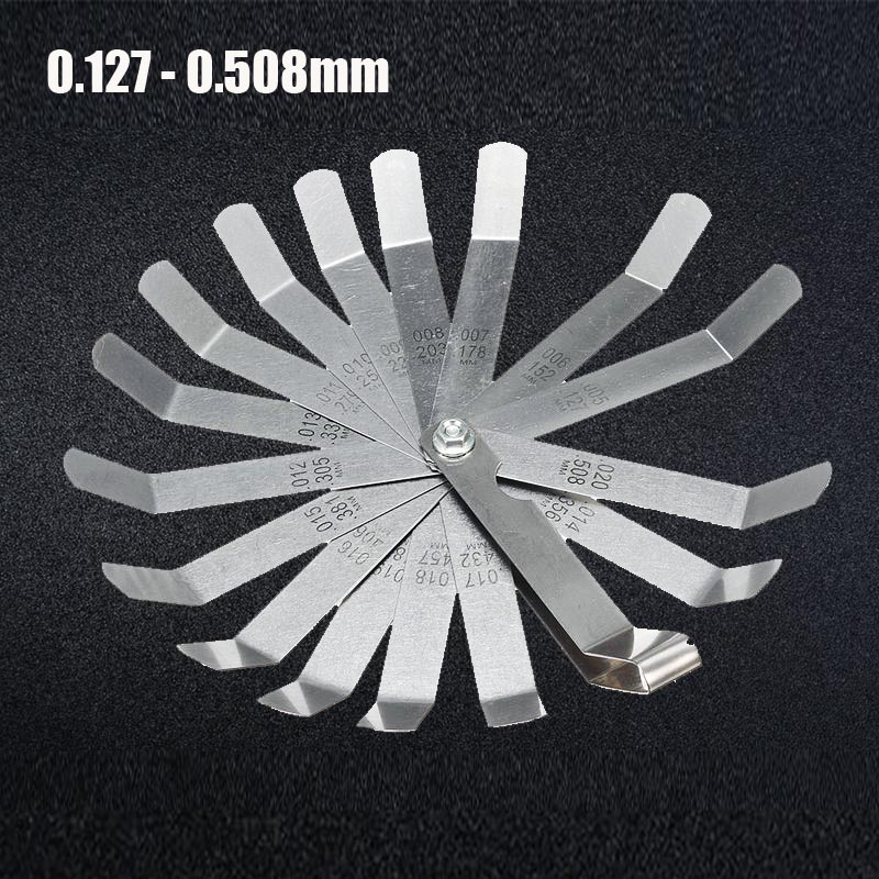 16 Blades Feeler Gauge Metric Gap Filler 0.127-0.508mm Gage Measurment Tool For Engine Valve Adjustment