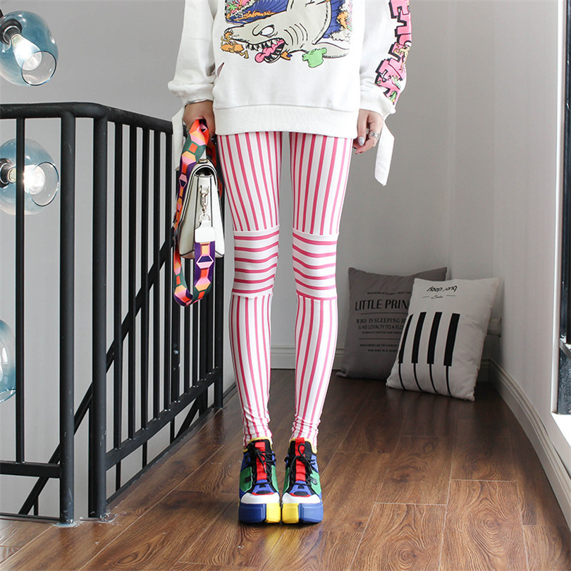 YRRETY Fashion Leggins High Waist Womens Leggings Ladies Pants Stitching Striped Cartoon Pattern Leggings Trousers Slim Pants