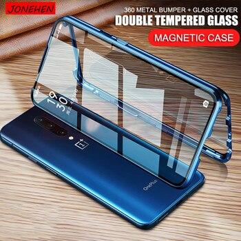 Перейти на Алиэкспресс и купить 360 Полностью Защитный магнитный металлический бампер, двойной чехол из закаленного стекла для Oneplus 7 7T 8 Pro 6T 6 One Plus 7 Pro 8, чехол для экрана
