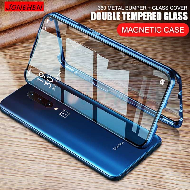 360 Full Protective Magnetic Metal Bumper Double Tempered Glass Case For Oneplus 7 7T Pro 6T 6 One Plus 7 Pro Screen Cover Funda