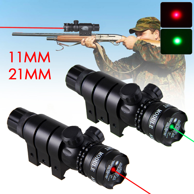 Rifle Scope Green Red Dot Laser Sight with 25.4mm/11mm Ring Picatinny Rail Mount Tail Switch 650nm/532nm Rifle Gun Laser Sight