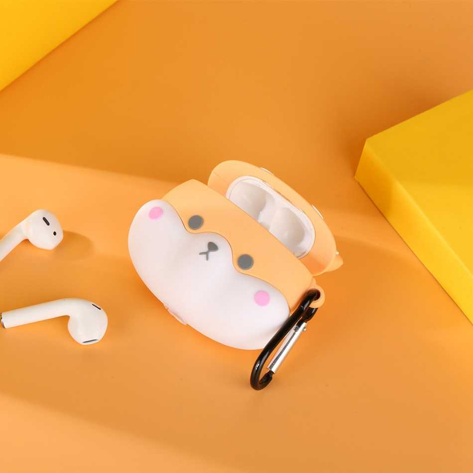 Untuk Airpods Pro Case 3D Lucu Anjing Shiba Inu Kawaii Kartun Earphone Cover untuk Airpods 3 Lembut Melindungi Case dengan carabine Hook