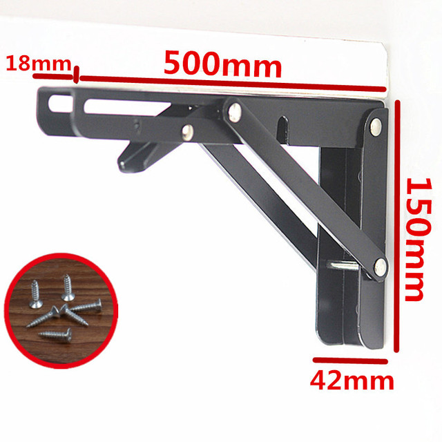 2PCS,8  20 Inch Length Heavy Duty Decorative Adjustable Black Triangle Wall Mount Folding Desk Table Support Shelf Brackets