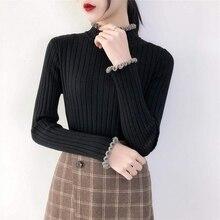 Black Sweater Women Fashion Sexy Half-high Collar Long-sleeved Slim Knit Autumn Shirt Top