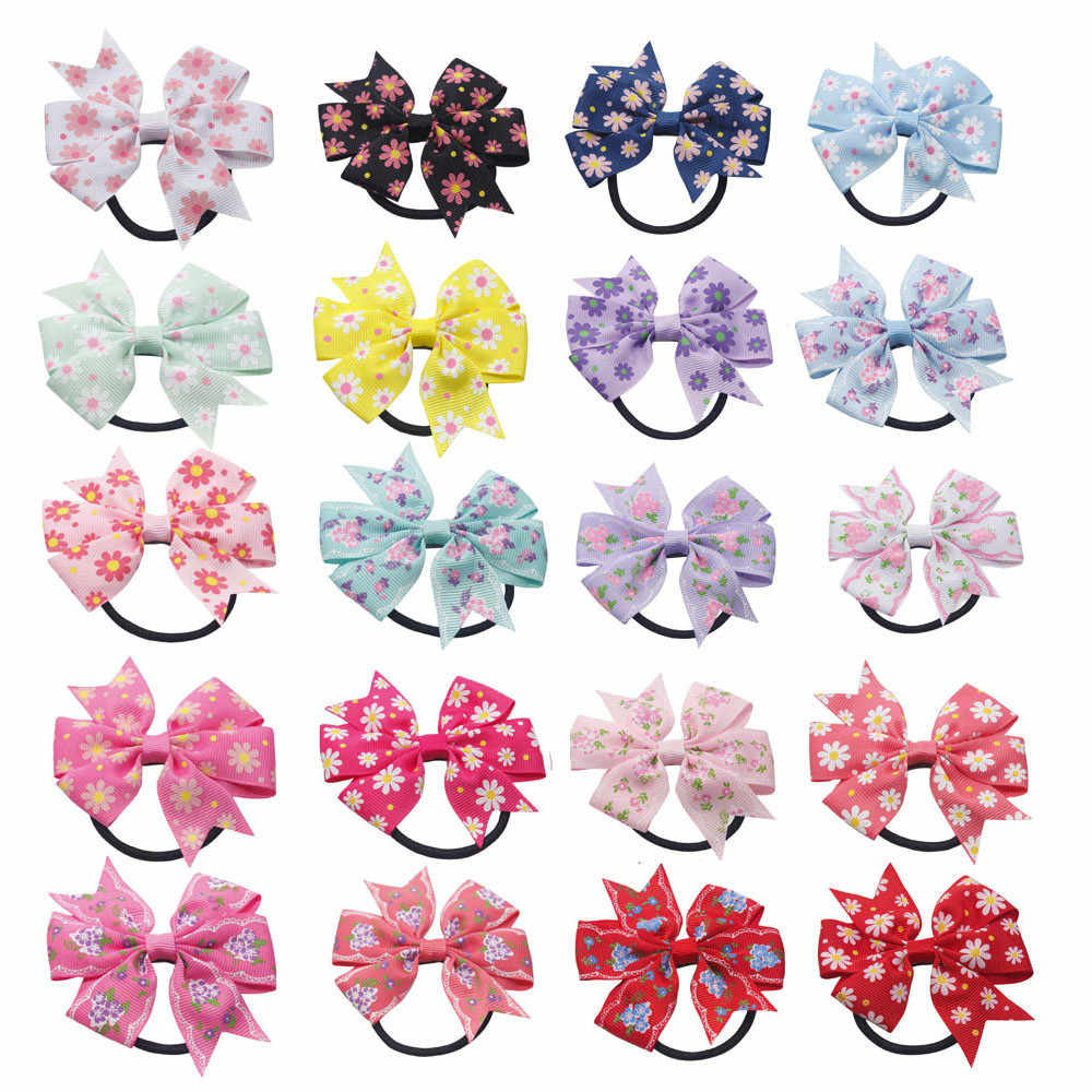 Children Girls Scrunchie Baby Girl Hair Accessories Handmade Bow Floral Print Hair Ring Hair Rope Accessories Serre Tete Fille