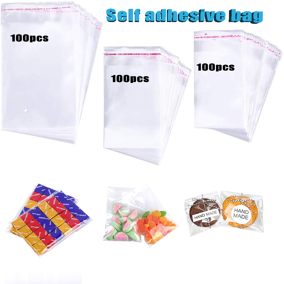 100pcs Clear Self Adhesive Cellophane Bag Plastic Self Sealing Bags Package Small Self-adhesive Resealable OPP Poly Bag