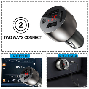 Image 2 - 3.5mm AUX Bluetooth 5.0 FM Transmitter Wireless Modulator 4.8A Dual USB Car Charger Handsfree Car MP3 Player Aluminum alloy Body