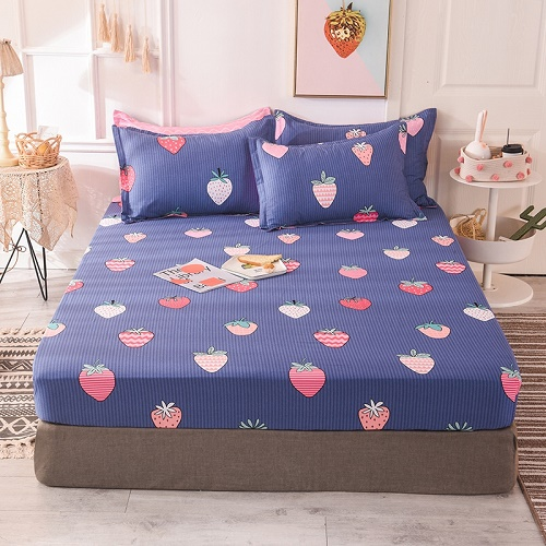 (New On Product) 1pcs 100% Cotton Printing bed mattress set with four corners and elastic band sheets(pillowcases need order) 9