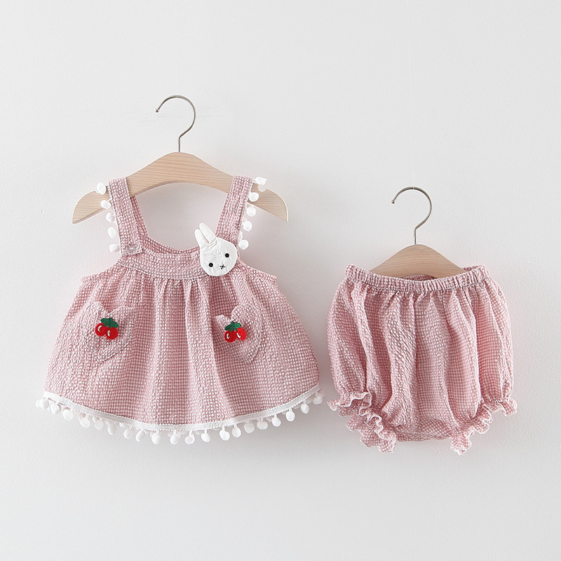 2020 Cute Girlset Summer Infant And Toddler Baby Su Su Cartoon Bunny Shorts Two Piece Set