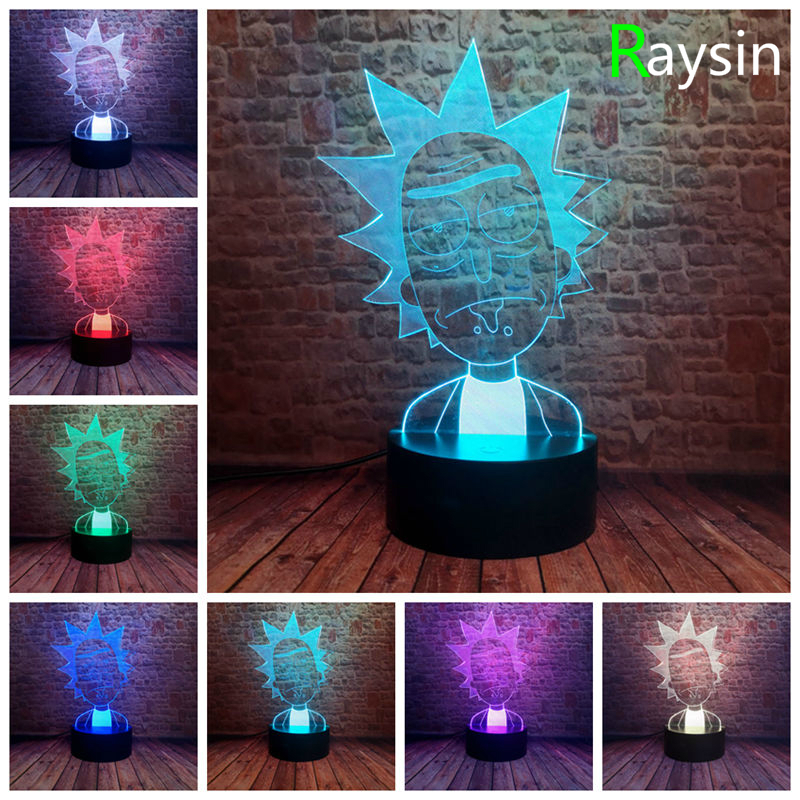 Rick And Morty For Kids Cool Bedroom Decorative Lamp Child Night Light 7 Color Change 3D LED Xmas Gifts For Your Kids DropShip