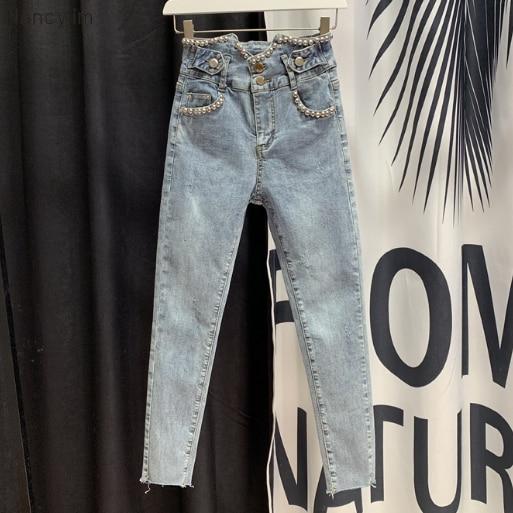 2020 Spring Summer Jeans New High Waist Jeans Beaded Harem Cropped Jeans Women's Slim-Fit Denim Pencil Pants Spodnie Damskie