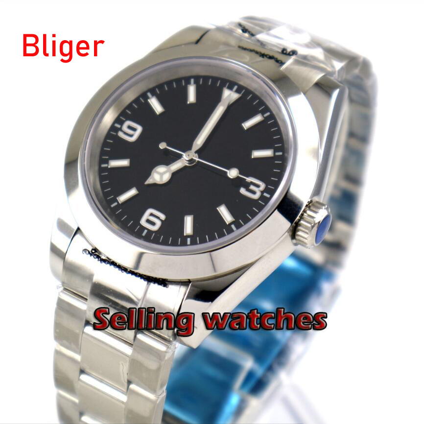 40mm bliger sterile black dial luminous solid case sapphire glass automatic mens watch