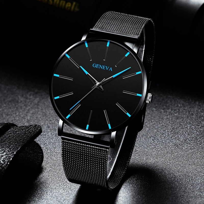 Creative Blue Dial Men Watches Casual New Brand Fashion Quartz Casual Stainless Steel Mesh Strap Ultra Thin Business WristWatch