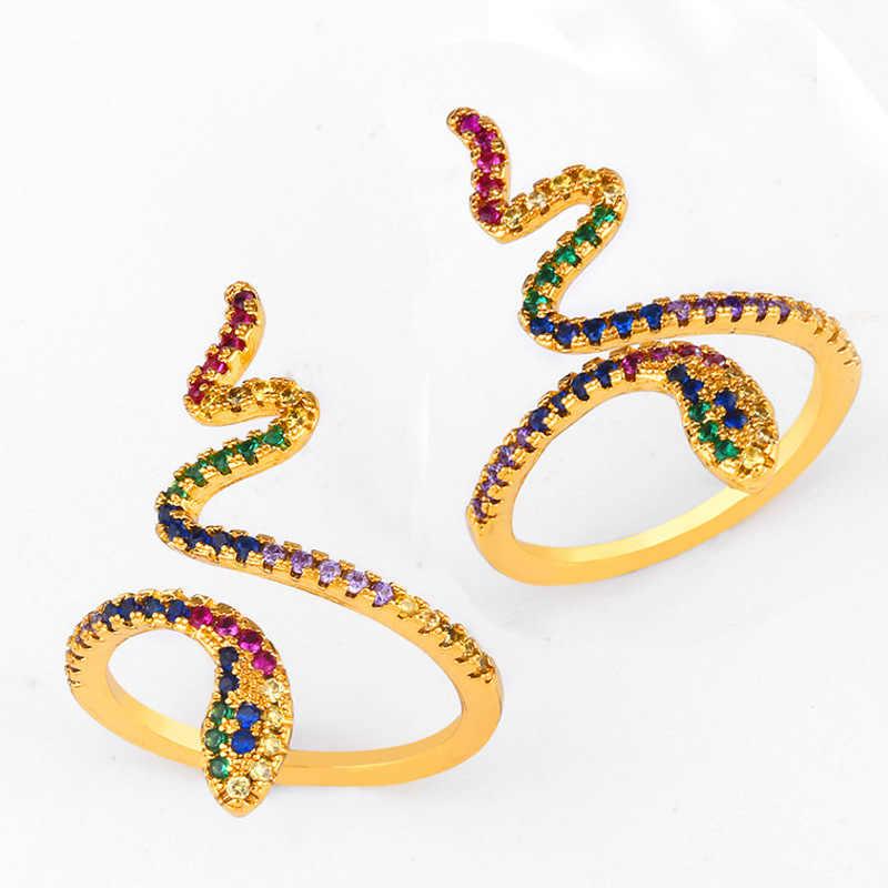 Rainbow Zircon แหวนบุคลิกภาพ Serpentine แหวนเปิดรูปร่างสัตว์ Inlay Zircon หญิงแฟชั่นเครื่องประดับอุปกรณ์เสริม