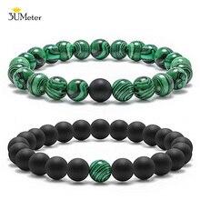 2 pieces/Set 8mm Natural Malachite Stone Bracelet Couple Black Matte Green Beads Bracelets for Men Women Jewelry