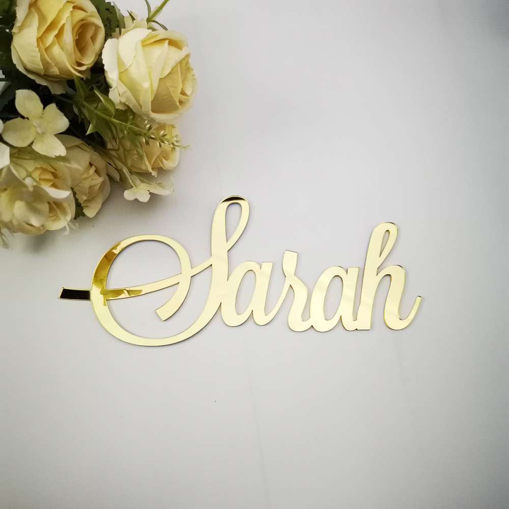 Personalized Baby Shower mirror gold Name Signs,Custom Children Name Color Acrylic Letters,Wall silver Names sign decor