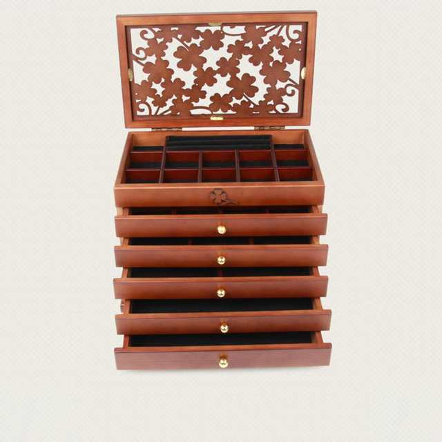 2 Colors Multi Layer Big 6 floors Wooden Jewelry Box Jewelry Display Casket Earrings Ring