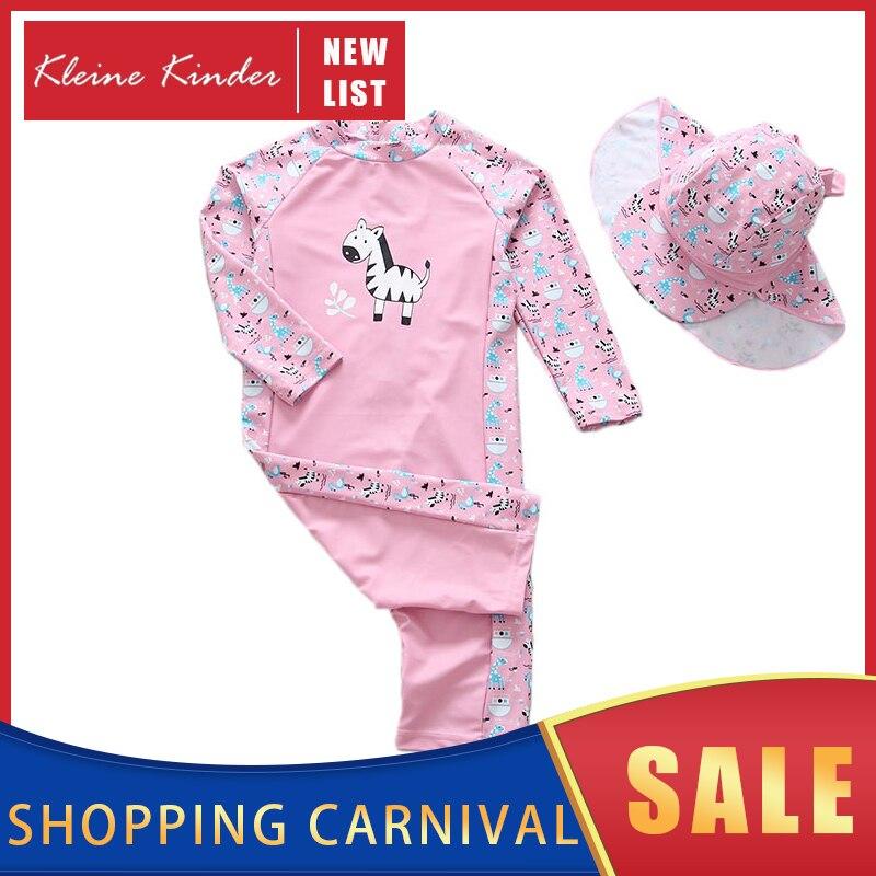 Baby Bademode Mädchen Ein Stück mit Langen Ärmeln Kappe UV 50 Sonnenschutz Infant Badeanzug Baby Badeanzug Kinder Schwimmen anzug