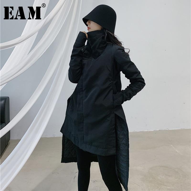 [EAM] Asymmetrical Turtleneck Cotton-padded Coat Long Sleeve Loose Fit Women Parkas Fashion Tide New Spring Autumn 2020 YA77101