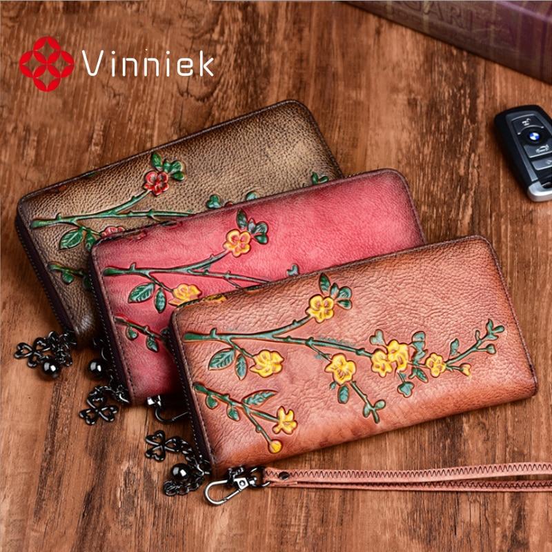 Vintage Genuine Leather Women Wallet Embossed Long Ladies Purse Multi-functional Cards Holder Zipper Leather Women Clutch Bag