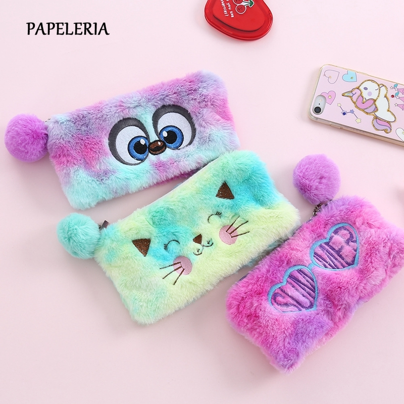 Big Eyes Cat Plush Pencil Case Cute Hairball Zipper Pen Bag Large Capacity Pencil Pouch Kids Girls Gift School Stationery Supply