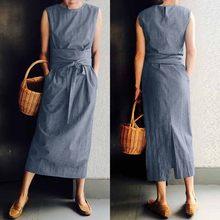 Frauen Sommer Split Sommerkleid 2021 ZANZEA Mode Maxi Kleid Casual Solide Sarafans Vestidos Belted Solid Robe Femme Plus Größe