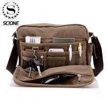 Scione, холщовая многофункциональная сумка через плечо, одноцветные портфели, чемодан, карман для карт для мужчин и женщин, Мужская офисная уличная дорожная сумка