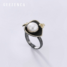 925 Sterling Silver Black Gold Plated Pearl Flower Open Ring Fine Jewelry For Women Handmade Craft Vintage Pearl Calla Ring