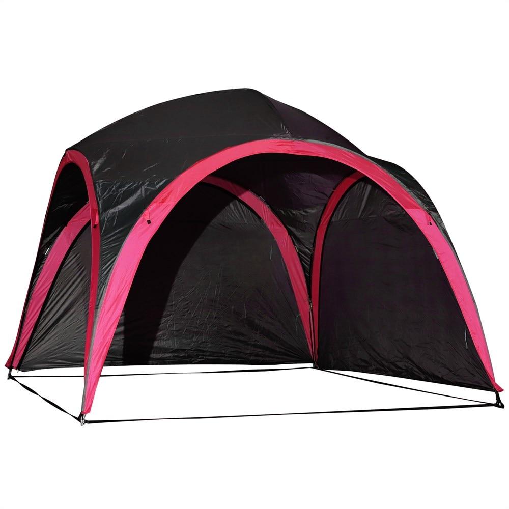 Outsunny tente imperméable UV pour 6 personnes plage Camping polyester 330x330x255 cm noir et