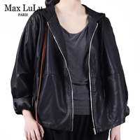 Max LuLu Herbst Europäischen Frauen Schwarz Faux Leder Jacke Damen Punk Casual Pu Biker Mantel Lose Motorrad Kleidung Plus Größe